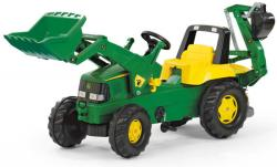 Rolly Toys Tractor cu pedale Rolly Toys, John Deere Trac cu incarcator frontal si excavator in spate (811076)