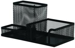 Q-Connect Organizer metalic Mesh, de birou, 3 compartimente, Q-Connect - negru (KF16572)