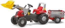 Rolly Toys Tractor cu pedale Rolly Toys, Rolly Junior cu incarcator frontal, remorca (811397)