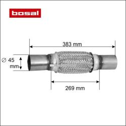 BOSAL Racord flexibil toba esapament 45 x 383 mm BOSAL 265-705
