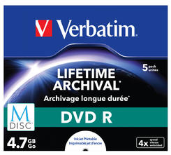 Verbatim MDISC Lifetime Archival DVD R 4x 4.7GB Jewel Case 5, pret pe bucata (43821)