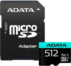 A-Data ADATA 512GB Premier Pro MICROSDXC, R/W up to 100/80 MB/s, with Adapter (AUSDX512GUI3V30SA2-RA1)