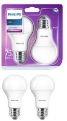 Philips Set 2 becuri LED, E27, 10W (75W), 1055 lm, A+, lumina alba neutra (8718696813751)
